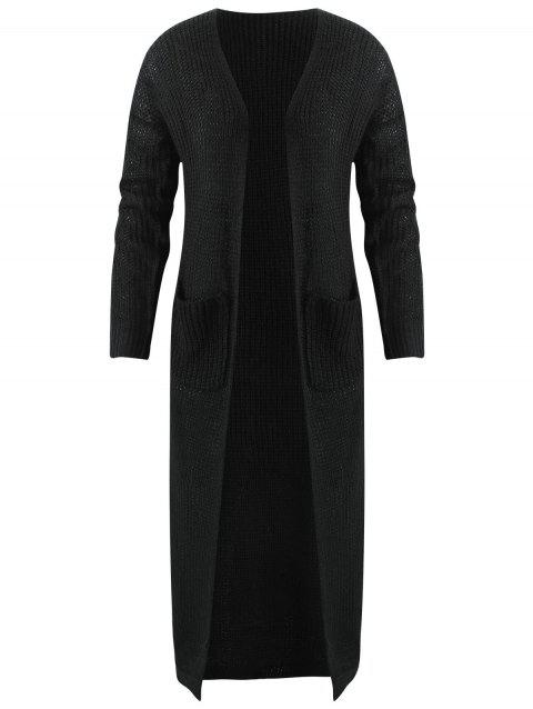 Open Front Maxi Chunky Cardigan - BLACK S