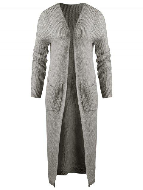 Open Front Maxi Chunky Cardigan - GRAY L