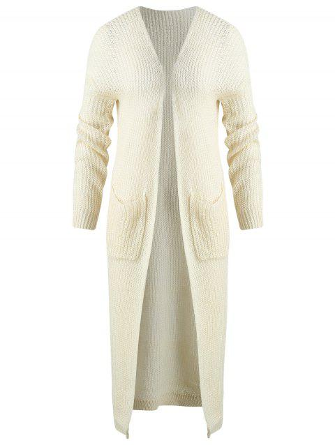 Open Front Maxi Chunky Cardigan - WHITE L