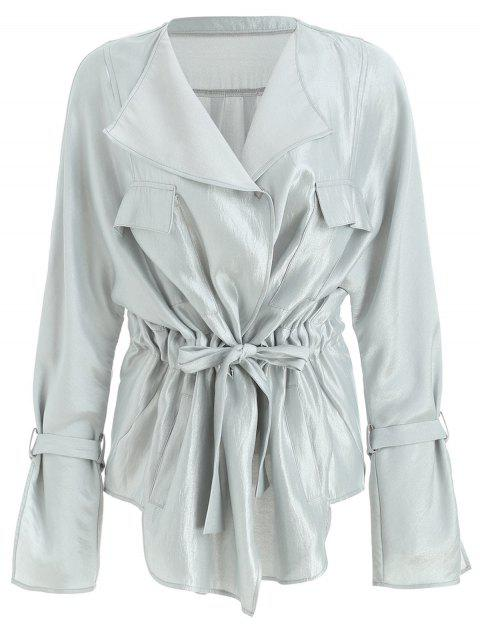 Drawstring Waist Metallic Trench Coat - PLATINUM XL