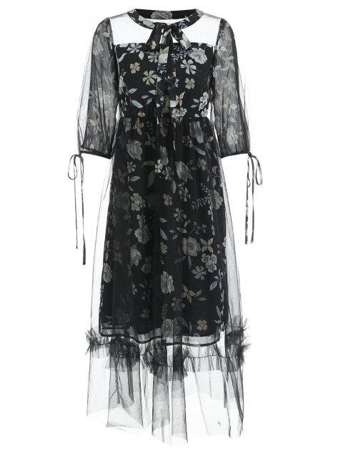 Tie Cuffs Floral Print Long Mesh Dress - BLACK 2XL