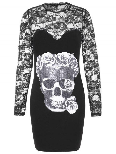 Halloween Skulls Print Long Sleeve Slim Dress - BLACK L