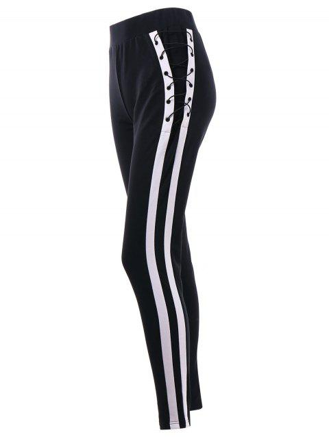 Lace Up Side Fitted Pants - BLACK 2XL