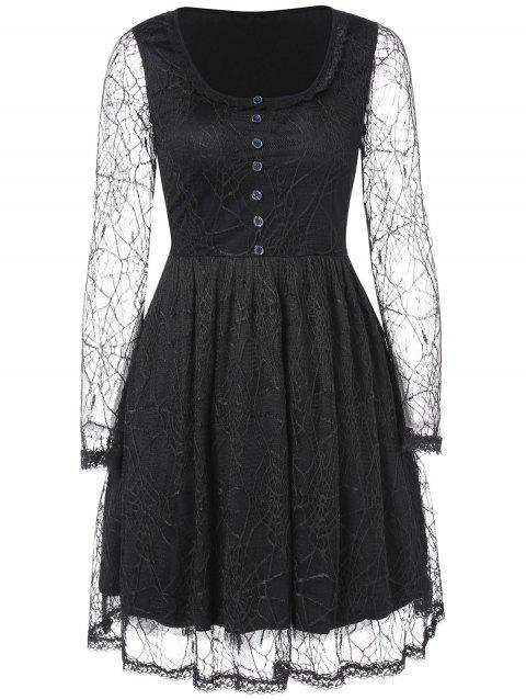 Long Sleeve Spider Web Lace Overlay Dress - BLACK XL