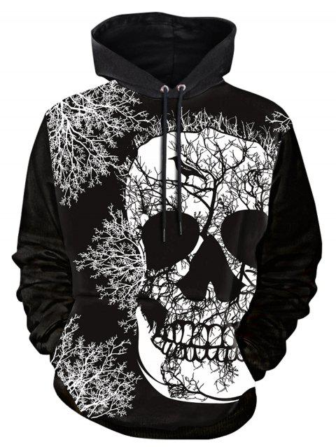 Skull Tree Print Long Sleeve Hoodie - BLACK XL