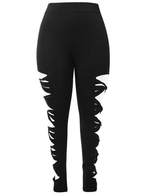 Plus Size Knotted Ladder Cut Out Leggings - BLACK 5X