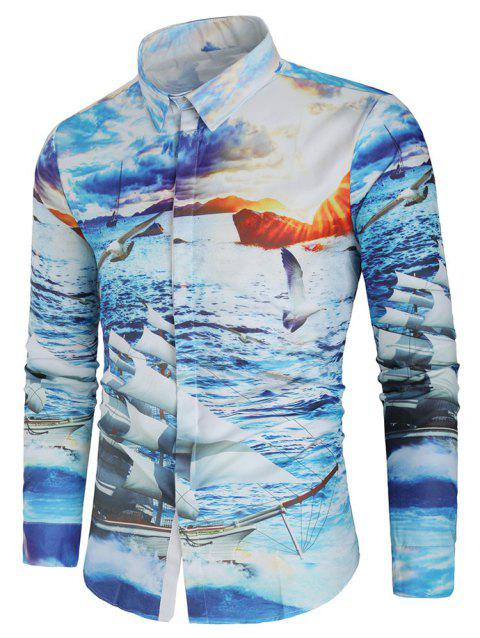 Ship and Sea Gull Print Long Sleeve Shirt - multicolor L
