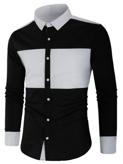 Long Sleeve Contrast Color Casual Shirt - BLACK L