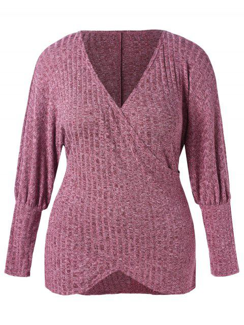 Lantern Sleeve Plus Size Pullover Sweater - TULIP PINK 5X