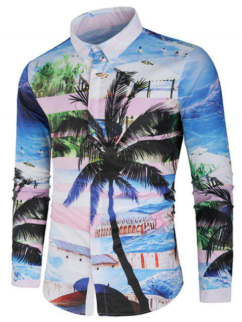 Hidden Button Coconut Tree and Beach Print Shirt - multicolor XL