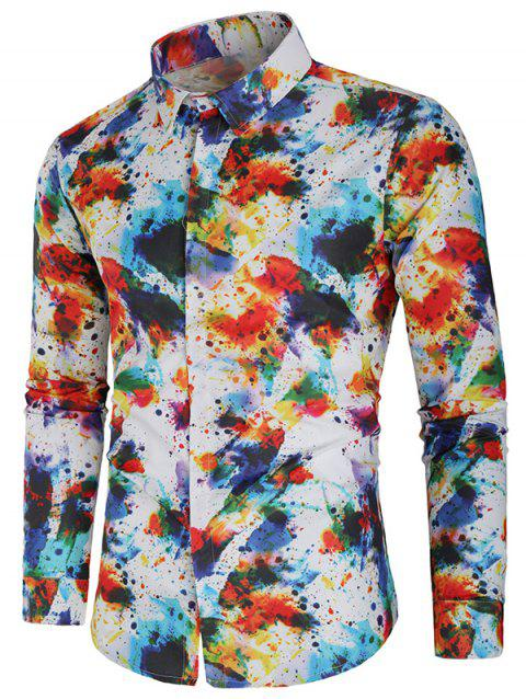 Casual Long Sleeve Paint Splatter Shirt - multicolor L