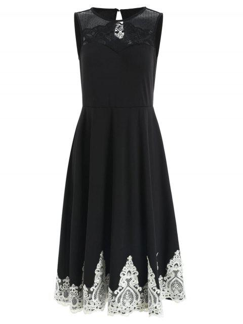 Lace Trim Sleeveless Cocktail Dress - BLACK M