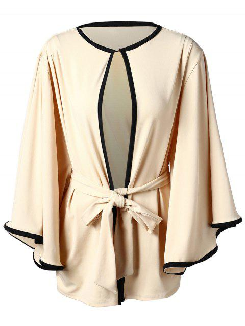 Two Tone Trumpet Sleeve Belted Cardigan - BEIGE 2XL