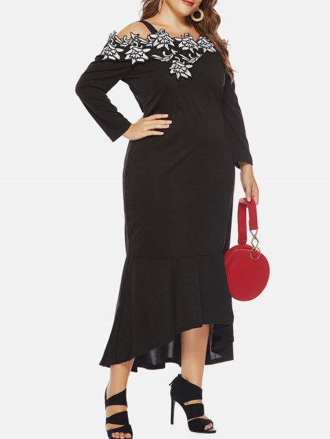 Plus Size Open Shoulder Applique High Low Dress - BLACK 2X