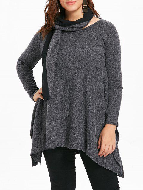 Long Sleeve Plus Size Asymmetrical Sweater with Scarf