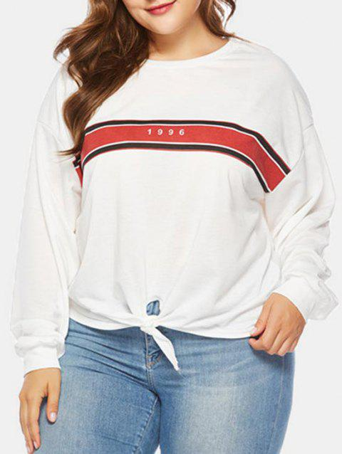 Plus Size Long Sleeve Front Knotted Sweatshirt - WHITE 3X
