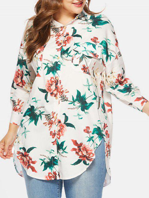 Side Slit Plus Size Floral Print Shirt - WHITE 3X
