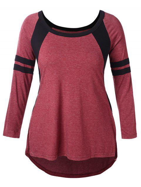 3579723d969b39 LIMITED OFFER  2019 Double Striped Sleeve Plus Size Color Block T ...