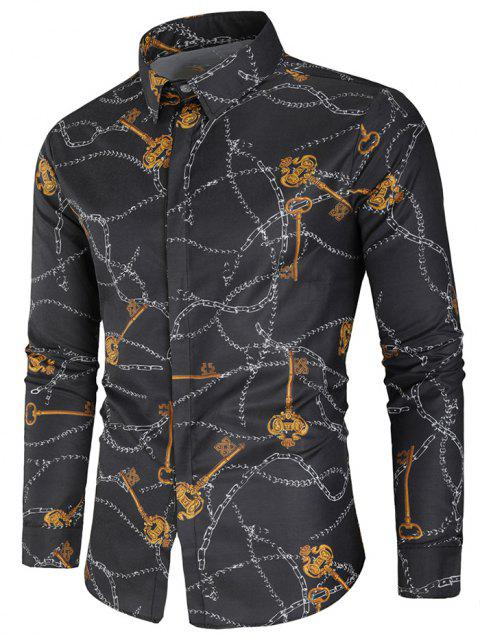 Button Up Key and Chain Print Shirt - multicolor L