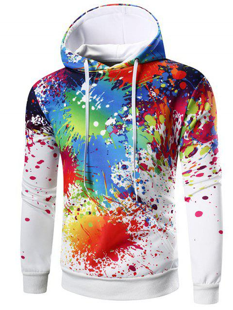Kangaroo Pocket Paint Splatter Hoodie - WHITE M