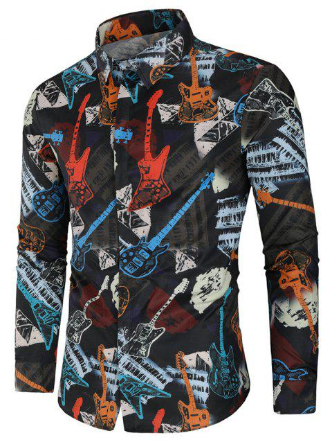Casual Musical Instrument Print Button Up Shirt - multicolor M