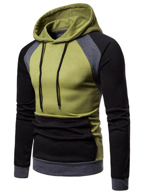 Color Blocking Casual Blocking Hoodie - VENOM GREEN M