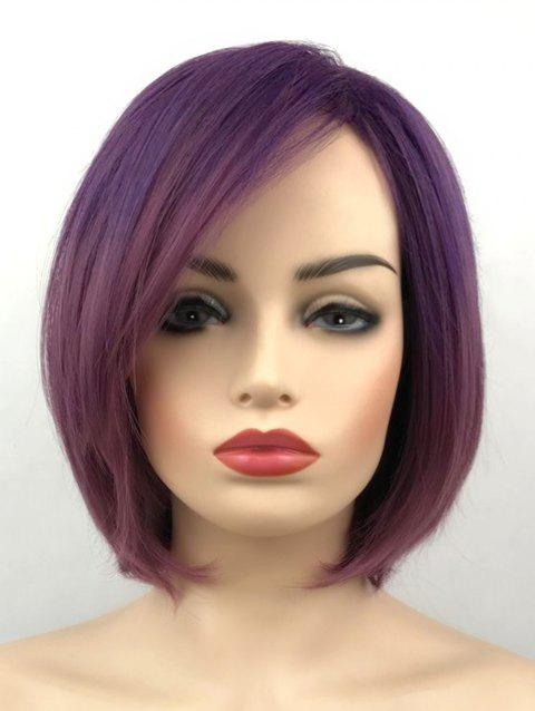 Synthetic Capless Short Ombre Straight Party Wig - VIOLA PURPLE