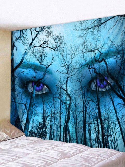Forest Eyes Pattern Wall Tapestry Art Decoration - BLUE W71 X L71 INCH