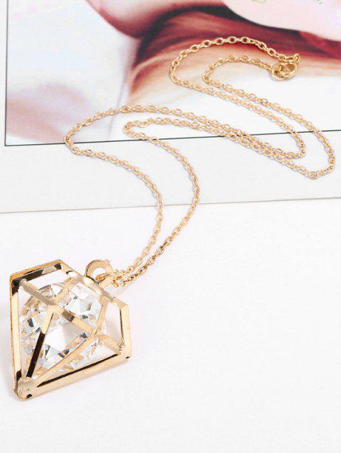 Hollow Geometric Shape Rhinestone Pendant Chain Necklace - GOLD