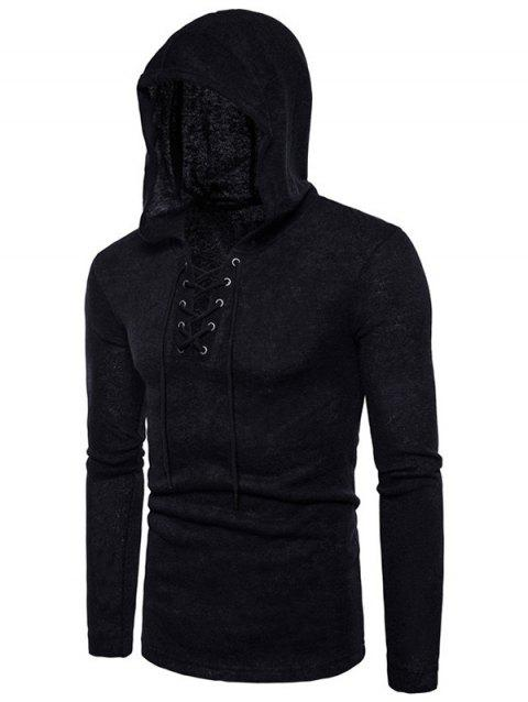 Long Sleeve Lace Up Hooded Sweater - BLACK M