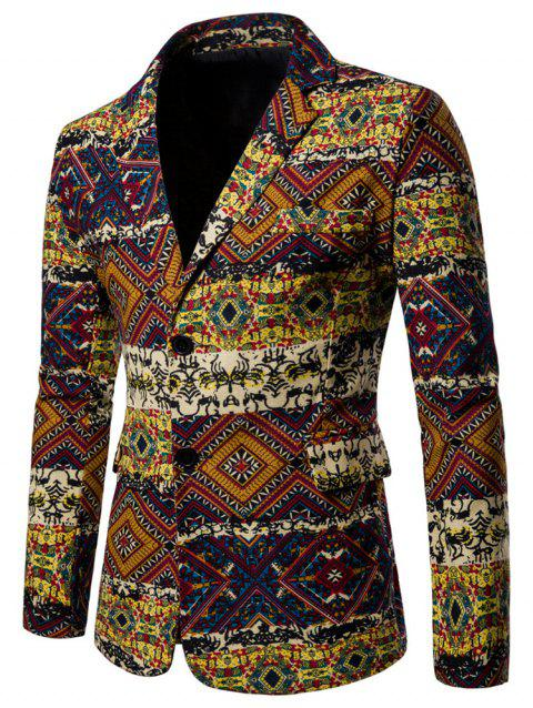 Retro Ethnic Print Single Breasted Blazer - multicolor XL