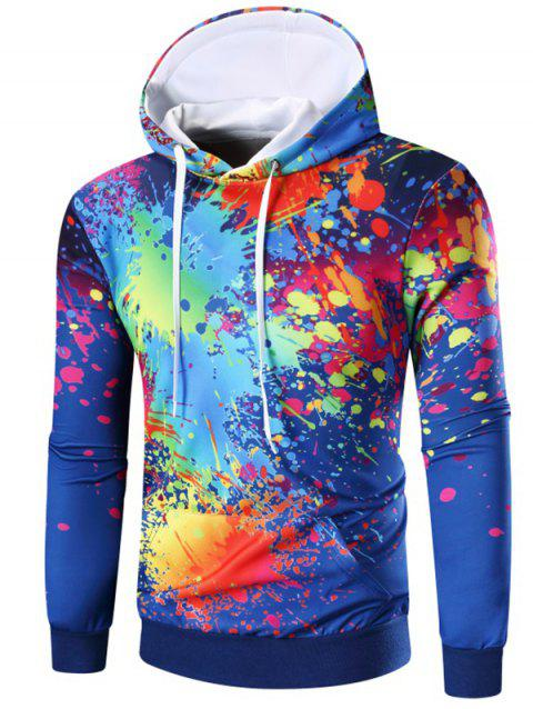 Kangaroo Pocket Paint Splatter Hoodie - BLUE L