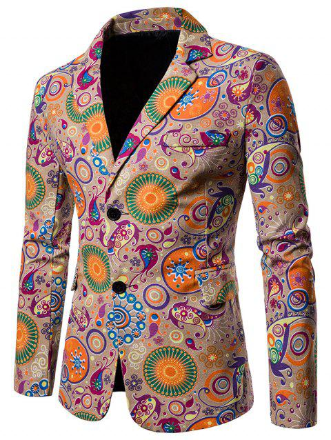 Ethnic Style Print Two Buttons Pockets Blazer - TAN XL