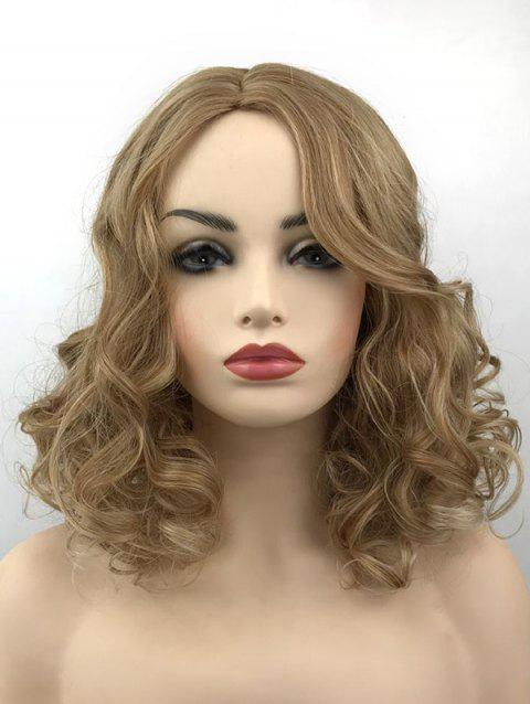 Center Parting Colormix Medium Curly Party Synthetic Wig - CHAMPAGNE GOLD