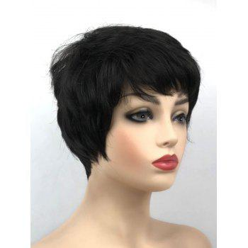 Short Oblique Bang Capless Synthetic Straight Wig - BLACK