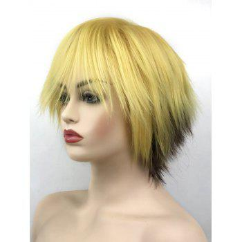 Short Side Bang Two Tone Straight Cosplay Synthetic Wig - multicolor