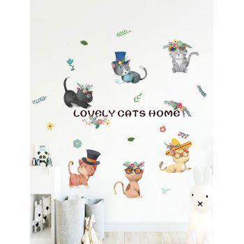 Lovely Cartoon Cats Print Decorative Wall Stickers - multicolor
