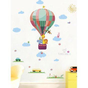 Lovely Animal Fire Balloon Print Decorative Wall Stickers - multicolor 20 X 28 INCH