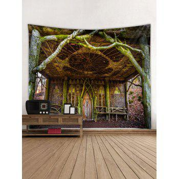 Vintage Tree House Print Tapestry Wall Art - multicolor W59 X L59 INCH