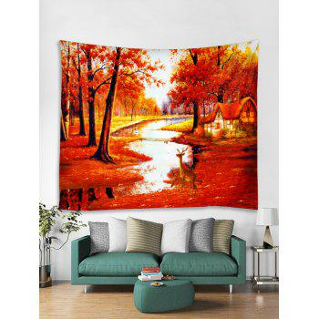 Maple Forest Deer Pattern Wall Tapestry Art Decoration - 红色 W118 X L79 INCH