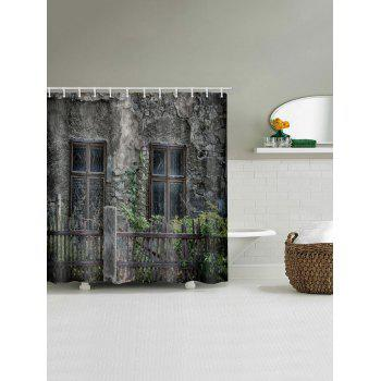 Vintage House Window Print Waterproof Shower Curtain - multicolor W71 X L79 INCH