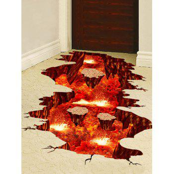 3D Volcanic Magma Crack Print Removable Floor Stickers - RED