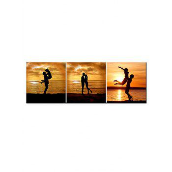 Sunset Lover Print Unframed Canvas Paintings - multicolor 3PCS X 12 X 12 INCH( NO FRAME )