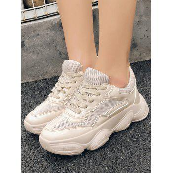 Lace Up Breathable Chunky Sneakers - BEIGE EU 37