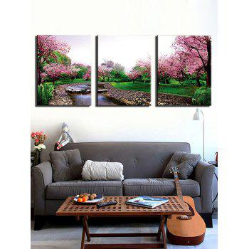 Flower Tree Forest Print Unframed Canvas Paintings - multicolor 3PCS X 16 X 24 INCH( NO FRAME)