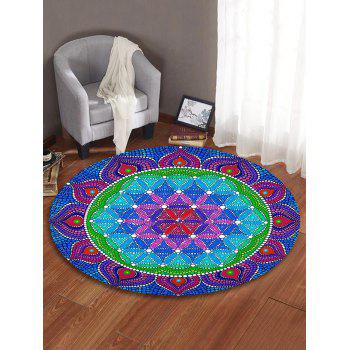 Mandala Flower Decorative Round Floor Rug - OCEAN BLUE 60CM (ROUND)