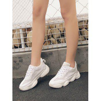 Lace Up Breathable Chunky Sneakers - WHITE EU 39
