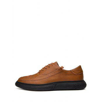 Lace Up Sewing Business Sneakers - BROWN EU 39