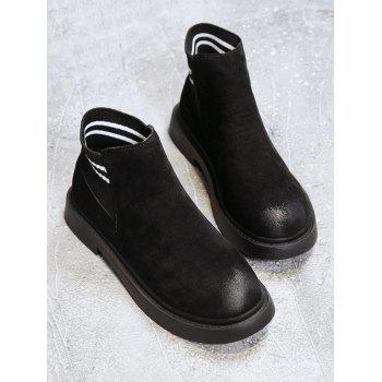 Striped Slip-on Suede Ankle Boots - BLACK EU 37