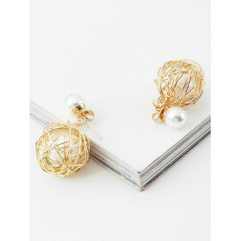 Stylish Alloy Wire Ball Decorative Drop Earrings - GOLD